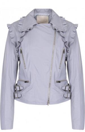 Однотонная кожаная куртка с косой молнией DROMe. Цвет: серый