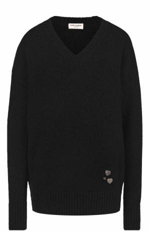 Кашемировый пуловер с V-образным вырезом Saint Laurent. Цвет: черный