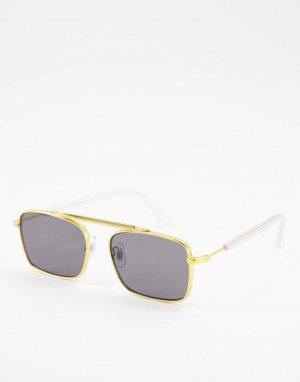 Солнцезащитные очки в стиле унисекс металлической золотистой оправе с плоской планкой Jodrell-Золотистый Spitfire