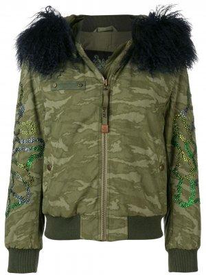Куртка-бомбер с капюшоном и меховой оторочкой Mr & Mrs Italy. Цвет: зеленый