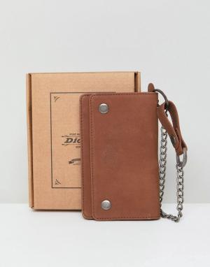 Коричневый кожаный кошелек с цепочкой Deedsville Dickies. Цвет: коричневый