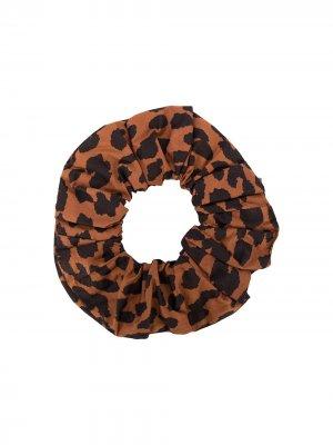 Резинка для волос с леопардовым принтом GANNI. Цвет: коричневый