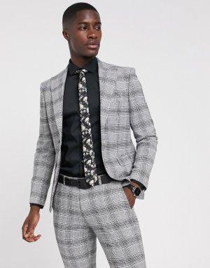 Черно-белый пиджак в клетку Moss London-Черный цвет BROS