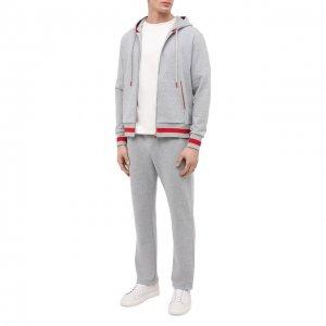 Хлопковый спортивный костюм Kiton. Цвет: серый