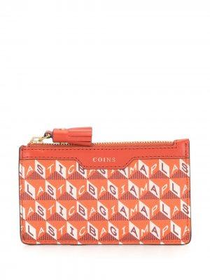 Кошелек на молнии с геометричным узором Anya Hindmarch. Цвет: оранжевый
