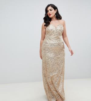 264f89161014 Золотистое платье-бандо макси с пайетками TFNC Plus. Цвет: золотой