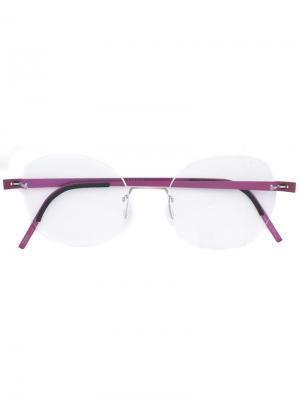 Оптические очки в круглой оправе Lindberg. Цвет: розовый и фиолетовый