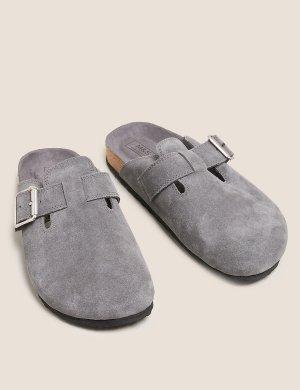 Замшевые слипоны на плоской подошве с пряжкой M&S Collection. Цвет: серый