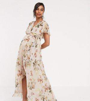 Асимметричное платье макси с кейпом и цветочным принтом ASOS DESIGN Maternity-Мульти Maternity