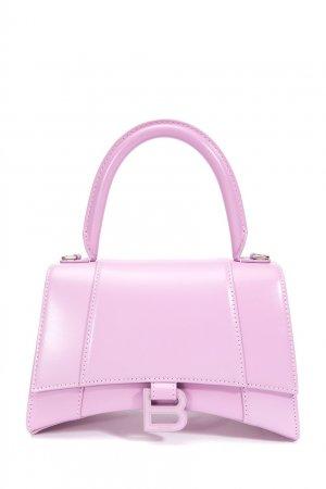 Сиреневая сумка из кожи Hourglass Small Balenciaga. Цвет: фиолетовый