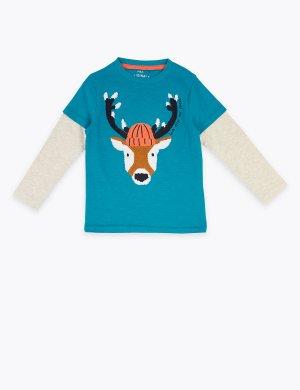 Хлопковый топ с вышитым изображением оленя Marks & Spencer. Цвет: бирюзовый микс