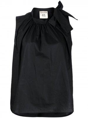Блузка без рукавов с бантом Semicouture. Цвет: черный