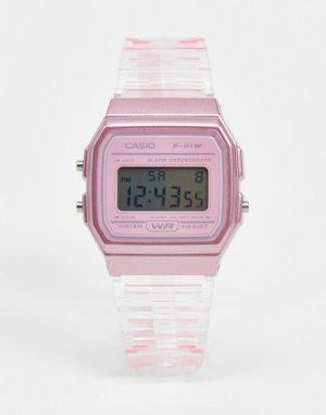 Розовые цифровые часы F-91WS-4EF-Розовый цвет Casio