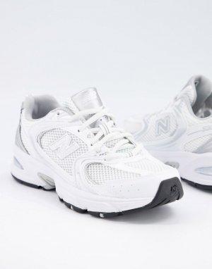 Белые кроссовки New Balance 530 metallic-Белый