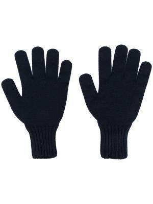 Перчатки в рубчик Drumohr. Цвет: синий