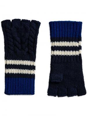 Полосатые перчатки без пальцев вязки с косичками Burberry. Цвет: синий