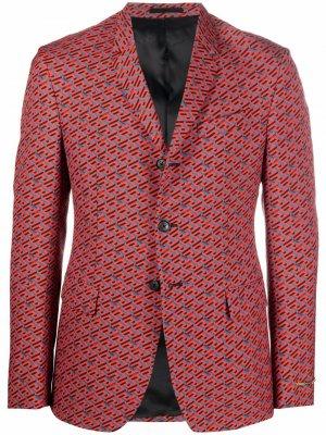 Однобортный пиджак с узором La Greca Versace. Цвет: красный