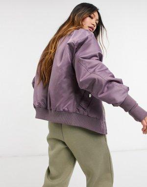 Бархатная куртка-бомбер темно-фиолетового цвета -Фиолетовый цвет Sixth June