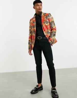 Пиджак скинни с комбинированным леопардовым и цепочным принтом -Красный Devils Advocate