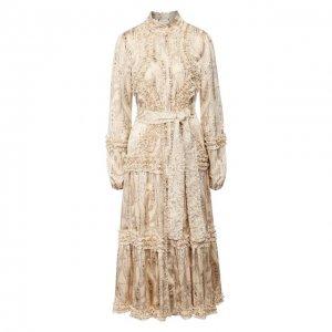 Платье-миди Alexis. Цвет: бежевый