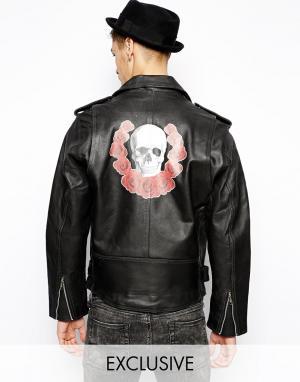 Кожаная куртка с принтом сзади Reclaimed Vintage. Цвет: черный