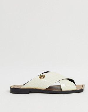 Белые кожаные мюли-слипоны с квадратным носком BRONX-Белый Bronx