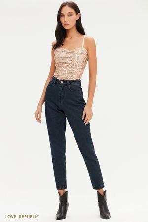 Укороченные джинсы mom на кокетке LOVE REPUBLIC