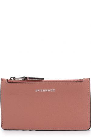 Кожаный чехол для кредитных карт с отделением на молнии Burberry. Цвет: розовый