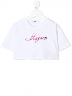 Укороченная футболка с логотипом Msgm Kids. Цвет: белый