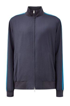 Толстовка из костюмной шерстяной ткани с лампасами VALENTINO. Цвет: серый