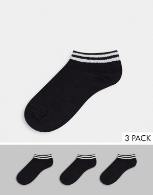 Набор из 3 пар черных носков до щиколотки с белыми полосками -Черный цвет French Connection