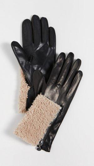 Leather Shearling Gloves Carolina Amato