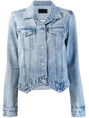 Джинсовая куртка с заостренным подолом RtA. Цвет: синий