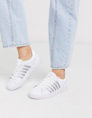 Белые кроссовки с серебристой отделкой Court Winston-Белый K-Swiss