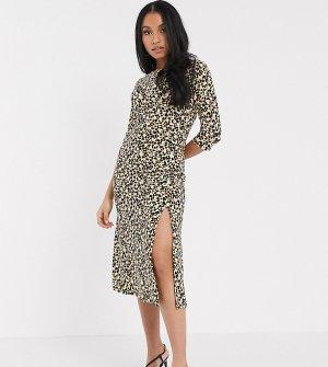 Коричневое платье миди с леопардовым принтом -Мульти River Island Petite