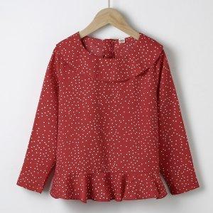 Для девочек Блуза в горошек с оборками SHEIN. Цвет: красный