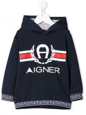 Худи с логотипом Aigner Kids. Цвет: синий