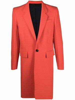 Однобортное пальто строгого кроя AMI Paris. Цвет: красный