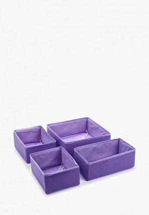 Комплект коробов Prima House. Цвет: фиолетовый