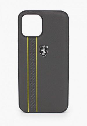 Чехол для iPhone Ferrari 12 Pro Max (6.7), Off-Track Genuine leather Stitched stipe Grey. Цвет: серый