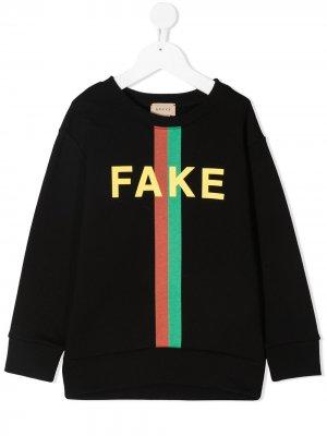 Толстовка с принтом Fake/Not Gucci Kids. Цвет: черный