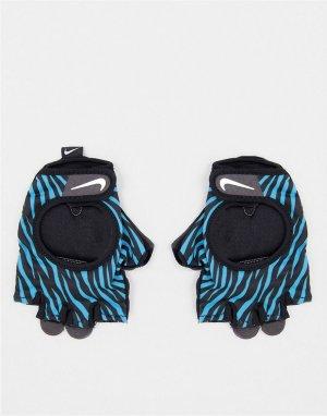 Перчатки для фитнеса с зебровым принтом голубого цвета Gym Ultimate-Голубой Nike