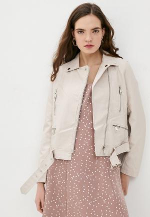 Куртка кожаная Macleria. Цвет: бежевый