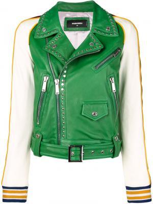 Контрастная кожаная куртка с заклепками Dsquared2. Цвет: зелёный