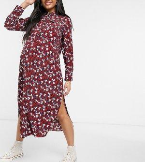 Бордовое платье-рубашка с цветочным принтом -Красный Topshop Maternity