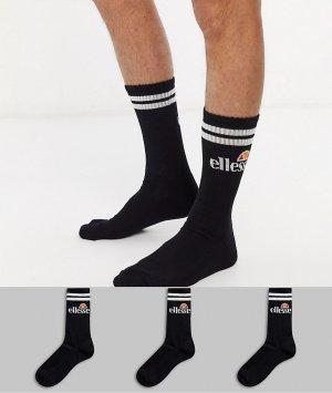 Набор из 3 пар мужских черных спортивных носков Ellesse-Черный ellesse
