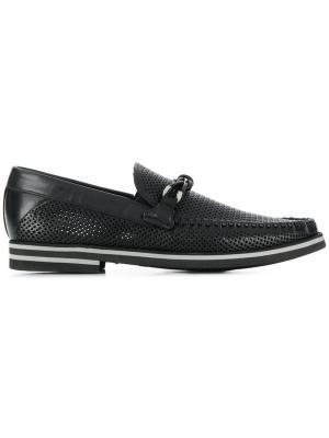 Палубные туфли с перфорацией Baldinini. Цвет: черный