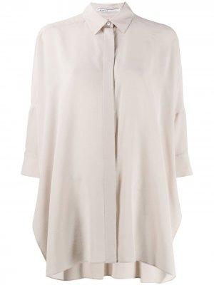 Блузка свободного кроя с рукавами три четверти Agnona. Цвет: нейтральные цвета