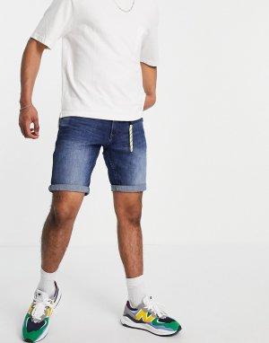 Синие выбеленные джинсовые шорты классического кроя TOM TAILOR-Голубой Tailor