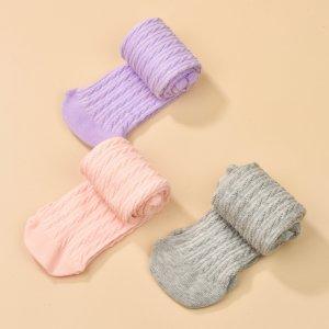 Для девочек 3 пары Однотонные носки до середины голени SHEIN. Цвет: многоцветный